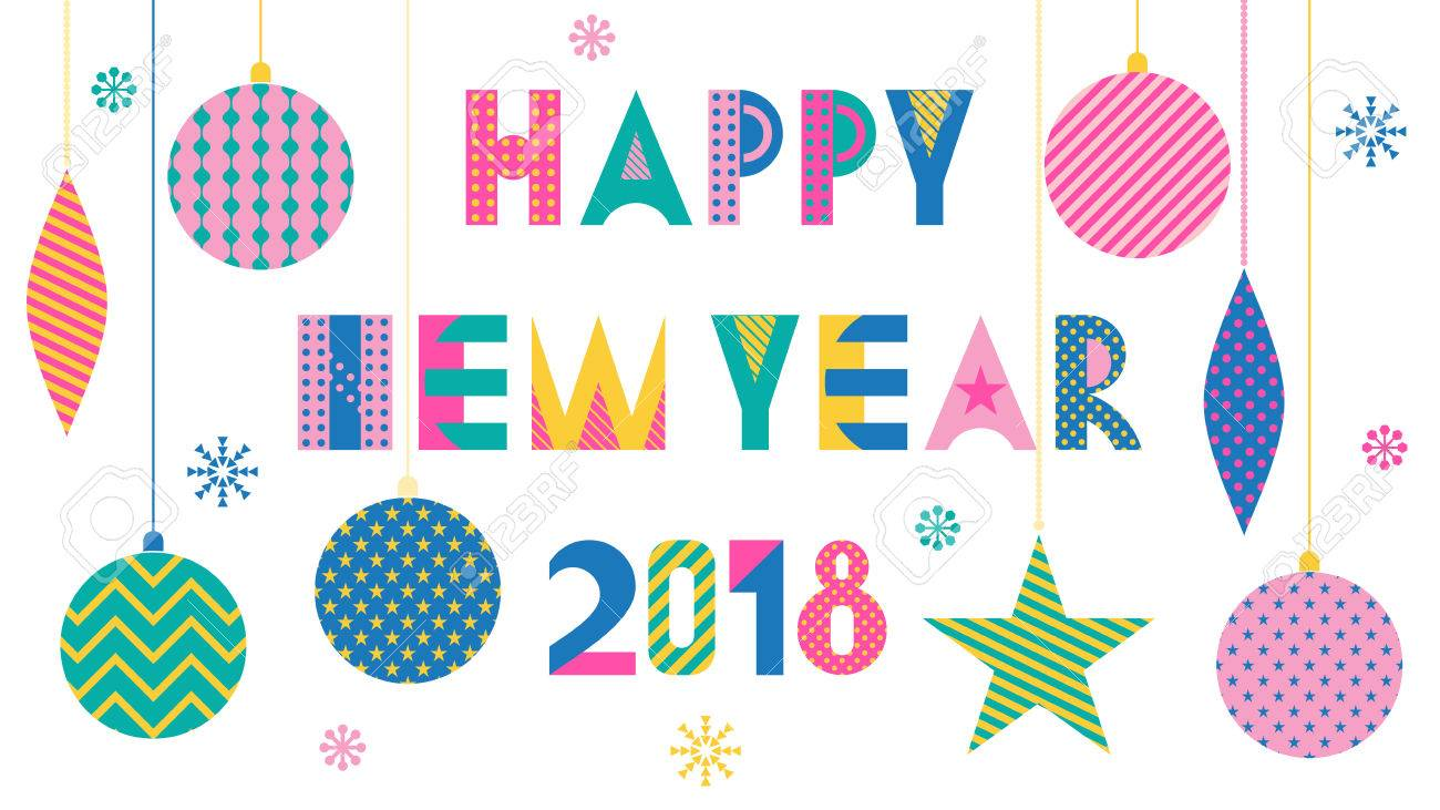 happy new year 2018 trendy geometric font in memphis style of