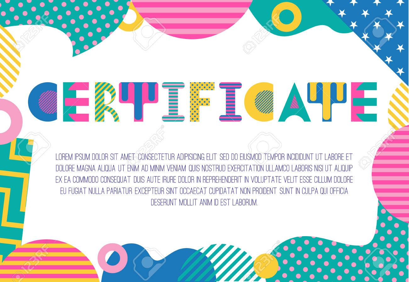 Certificate trendy geometric font in memphis style of 80s 90s certificate trendy geometric font in memphis style of 80s 90s rectangular frame from 1betcityfo Choice Image