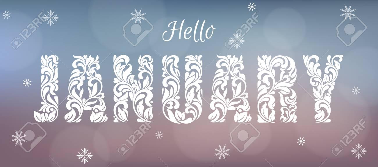 Hello January Banner Design Stock Vector