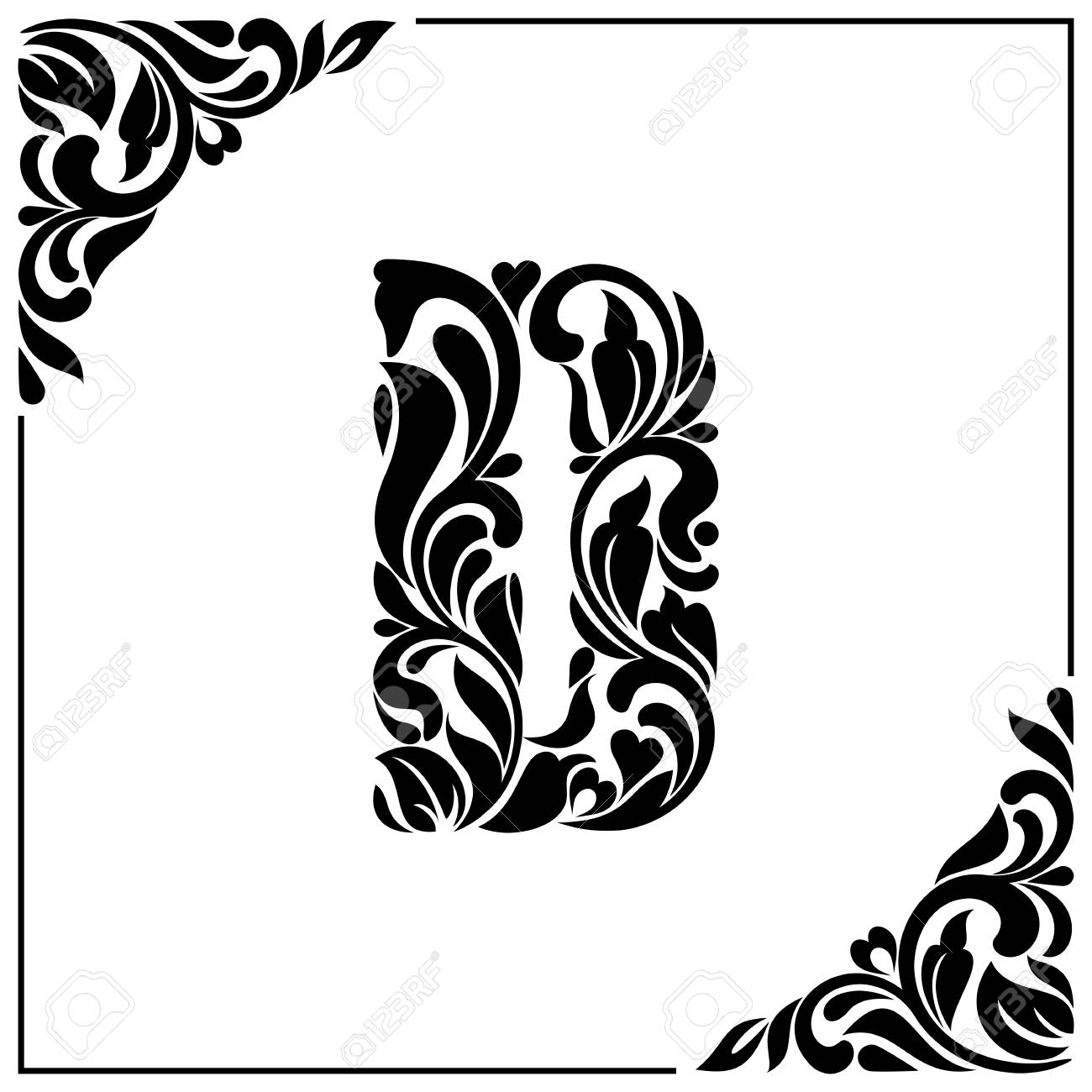 The letter D. Decorative Font with swirls and floral elements. Vintage  style Stock Vector ea88ac9f0