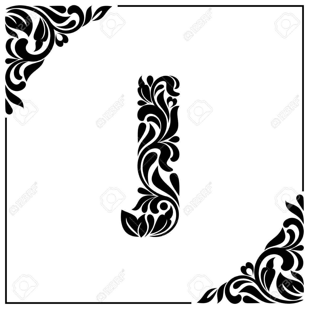 The Letter J Decorative Font With Swirls And Floral Elements Vintage Style Stock Vector