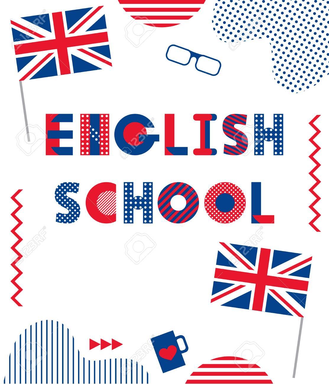 English School Trendy Geometric Font Text And Geometric Elements