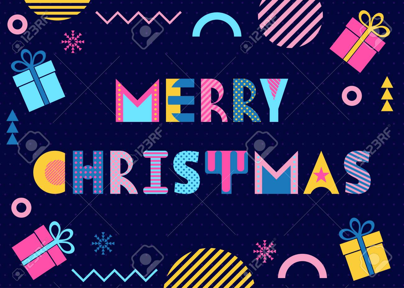Merry Christmas  Trendy geometric font in memphis style of 80s-90s