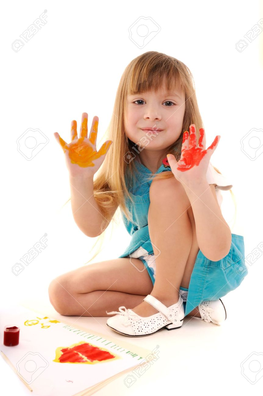 Small playful beauty girl with many-coloured hands and painted home on white background Stock Photo - 6546665
