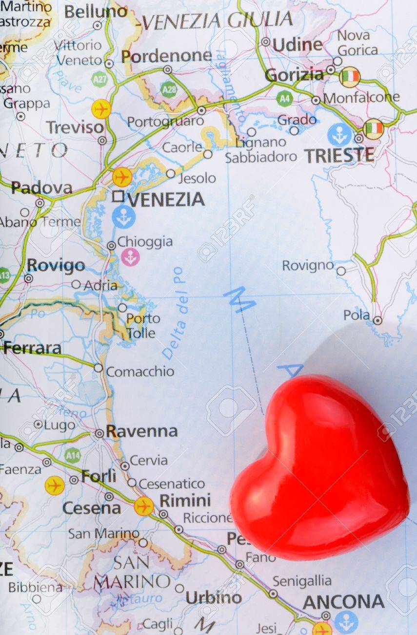 Concept Love Of Venice With Heart And Italian Map Stock Photo