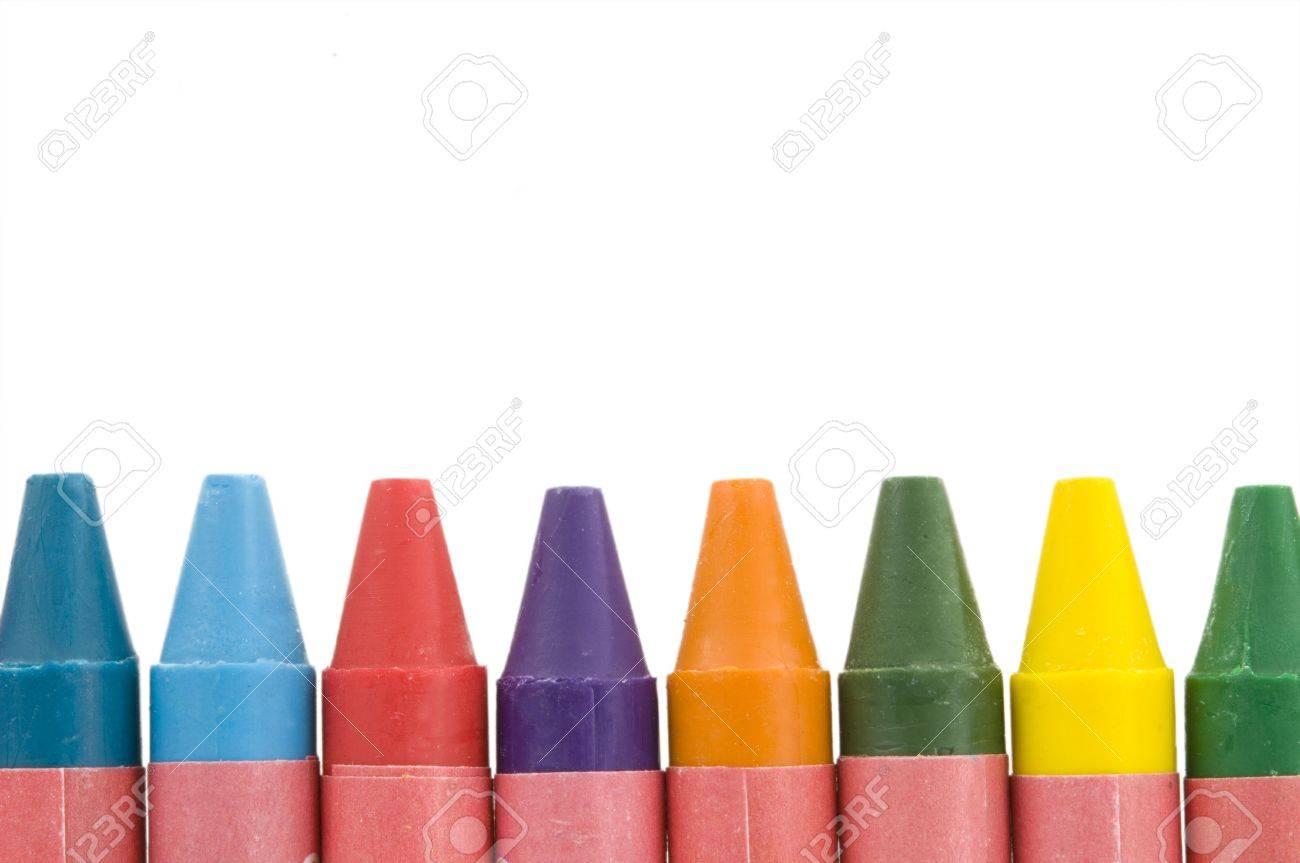 Many coloured wax crayouns isolated on white background Stock Photo - 7594918