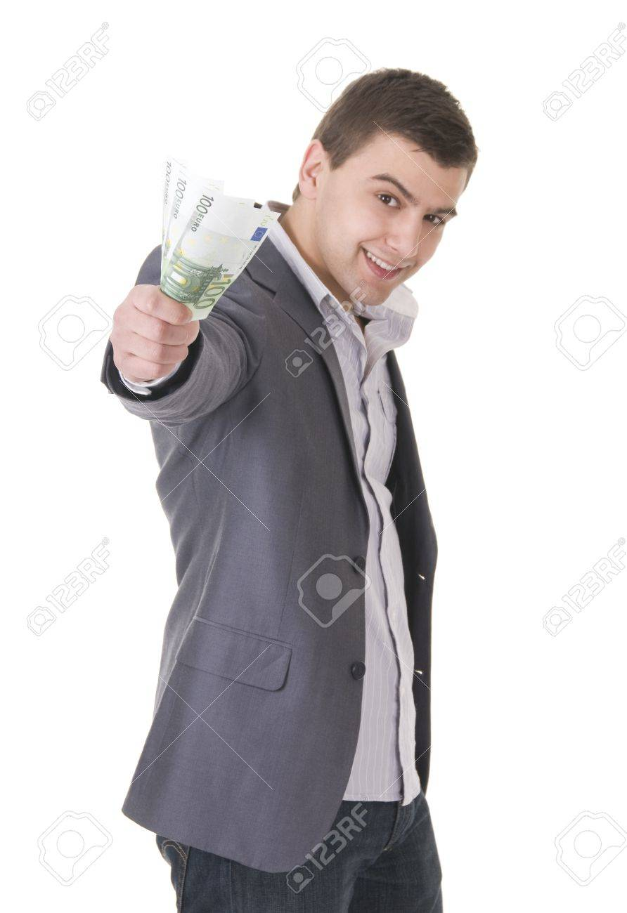 Young businessman offering money isolated ob white background. Focus on the maney Stock Photo - 9283866