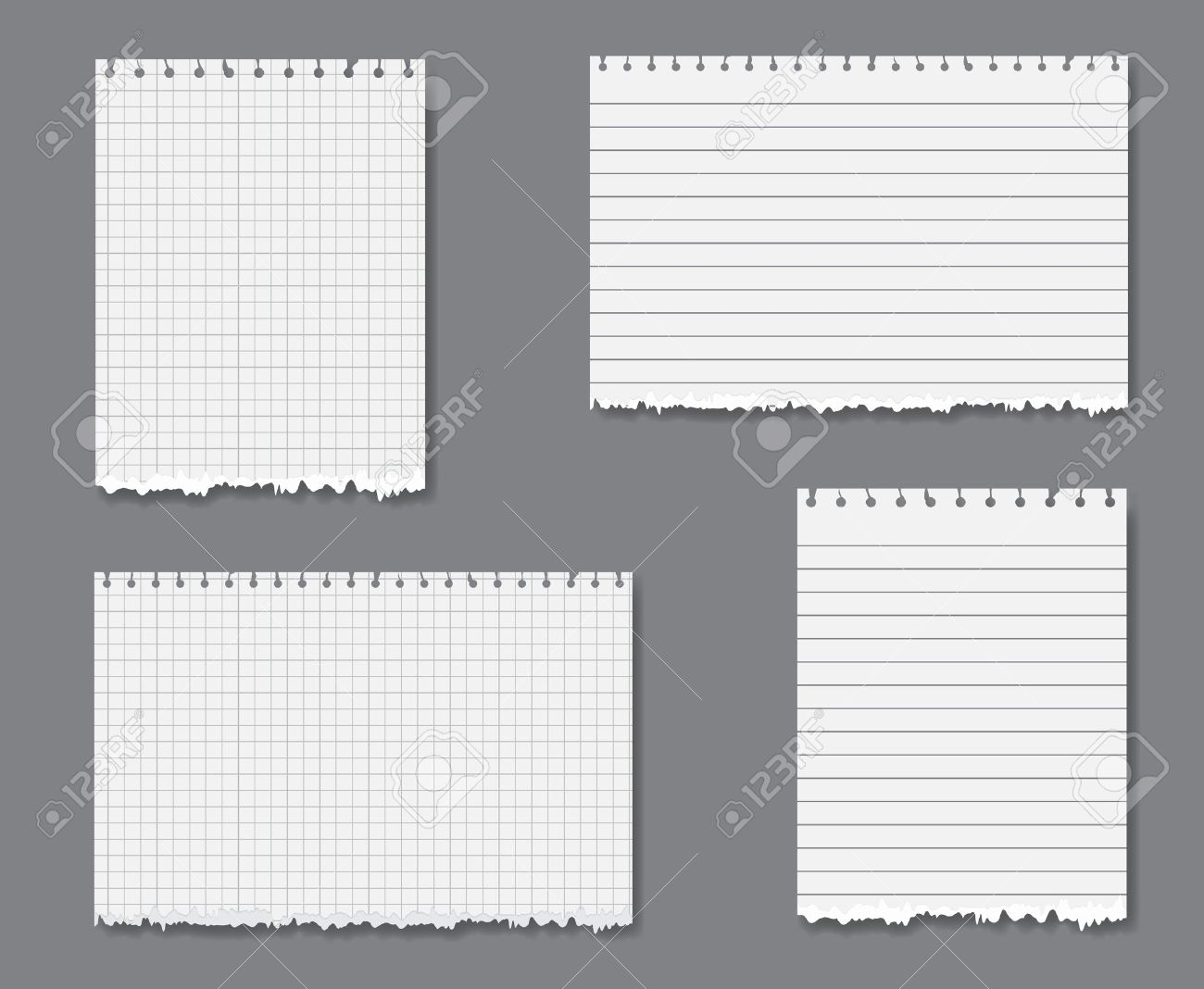 Vector Set With Sheets Of Loose Lined And Graph Leaf Paper With ...