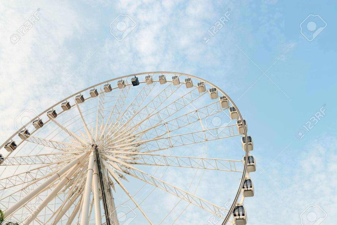Huge, Permanent Ferris Wheel With Many Enclosed, Glass Gondolas ...