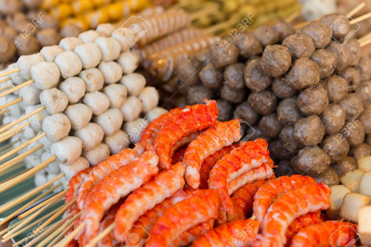 Traditional Spicy Snacks On Thai Food Open Market In Thailand Stock