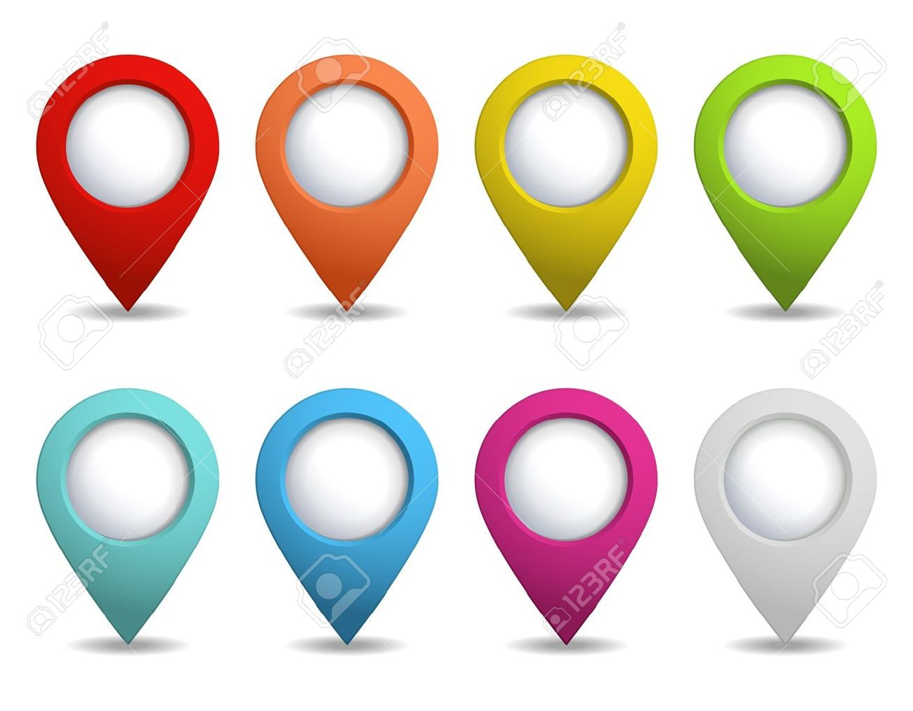 set of colorful map pointers Stock Vector - 16476330
