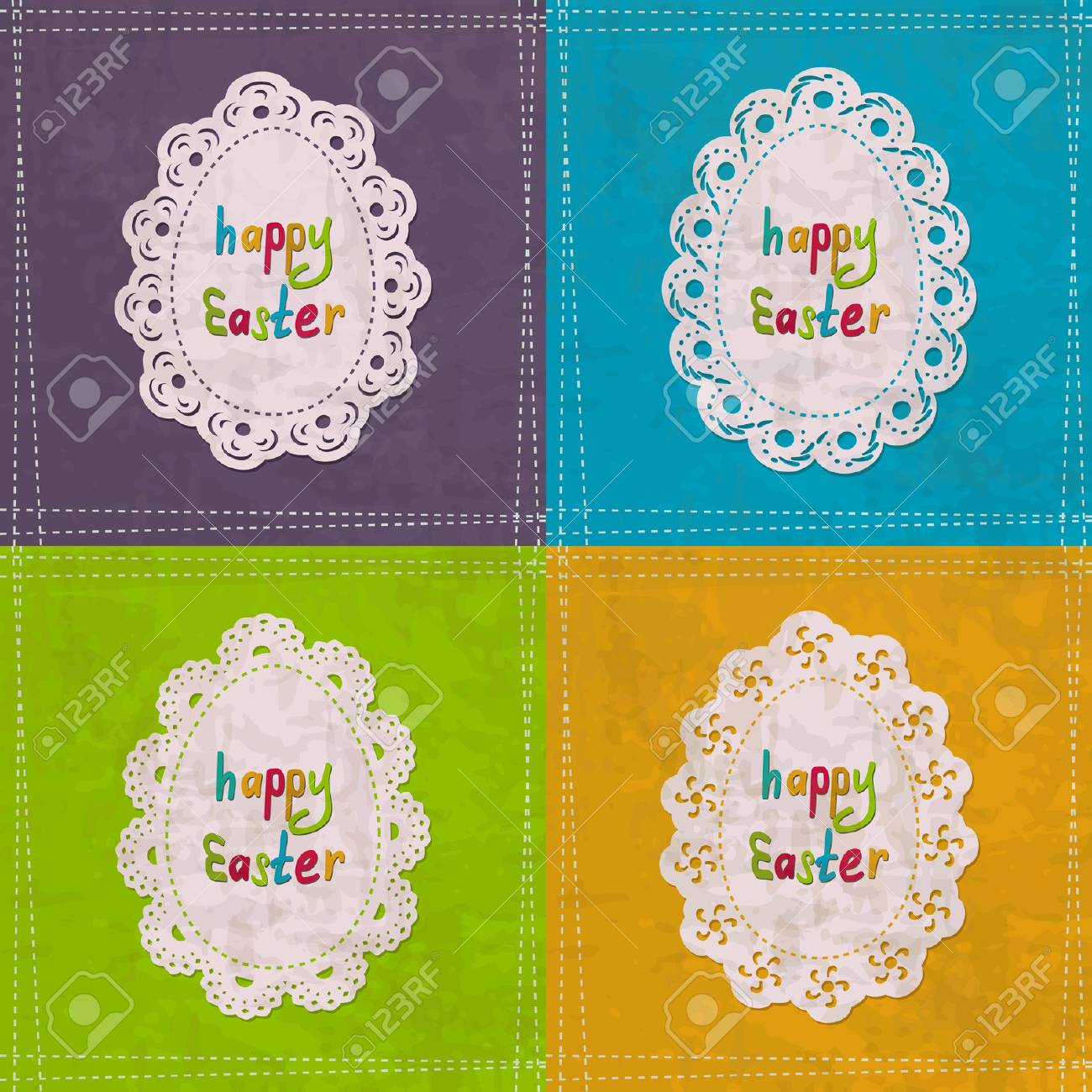 set of vintage cards for the Easter Stock Vector - 18003347
