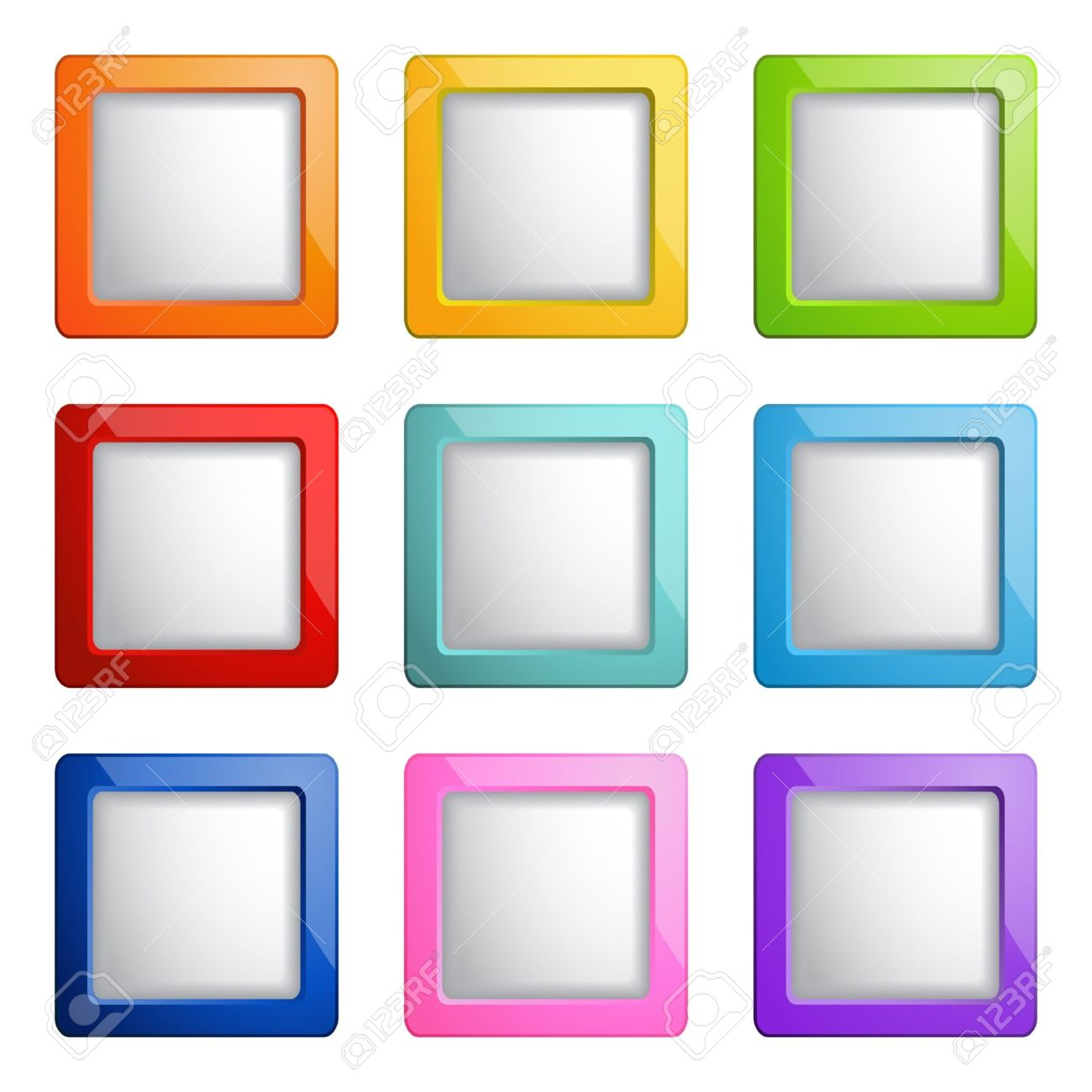 Set Of Square Web Buttons Royalty Free Cliparts Vectors And Stock