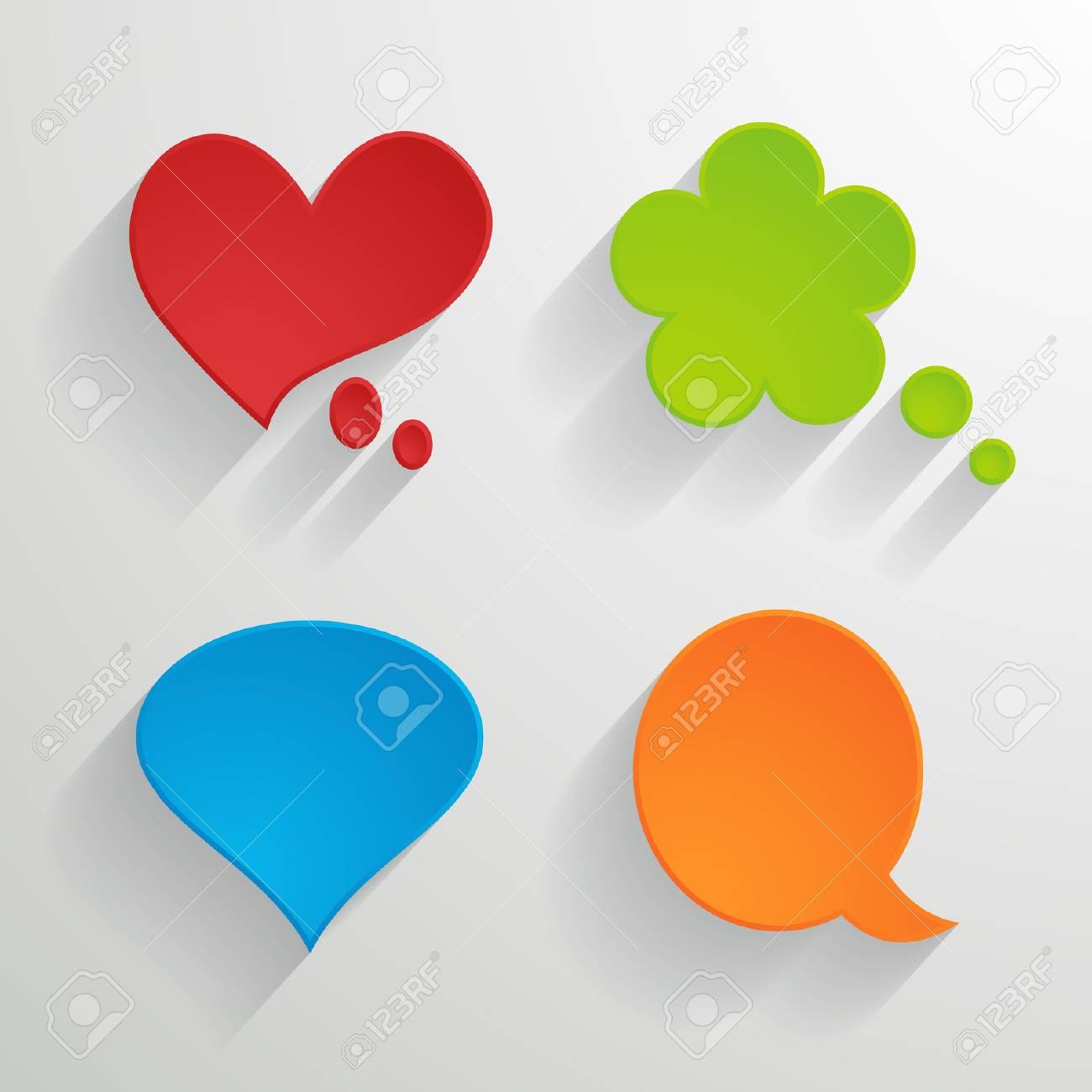 set of bright paper speech bubbles Stock Vector - 24467625