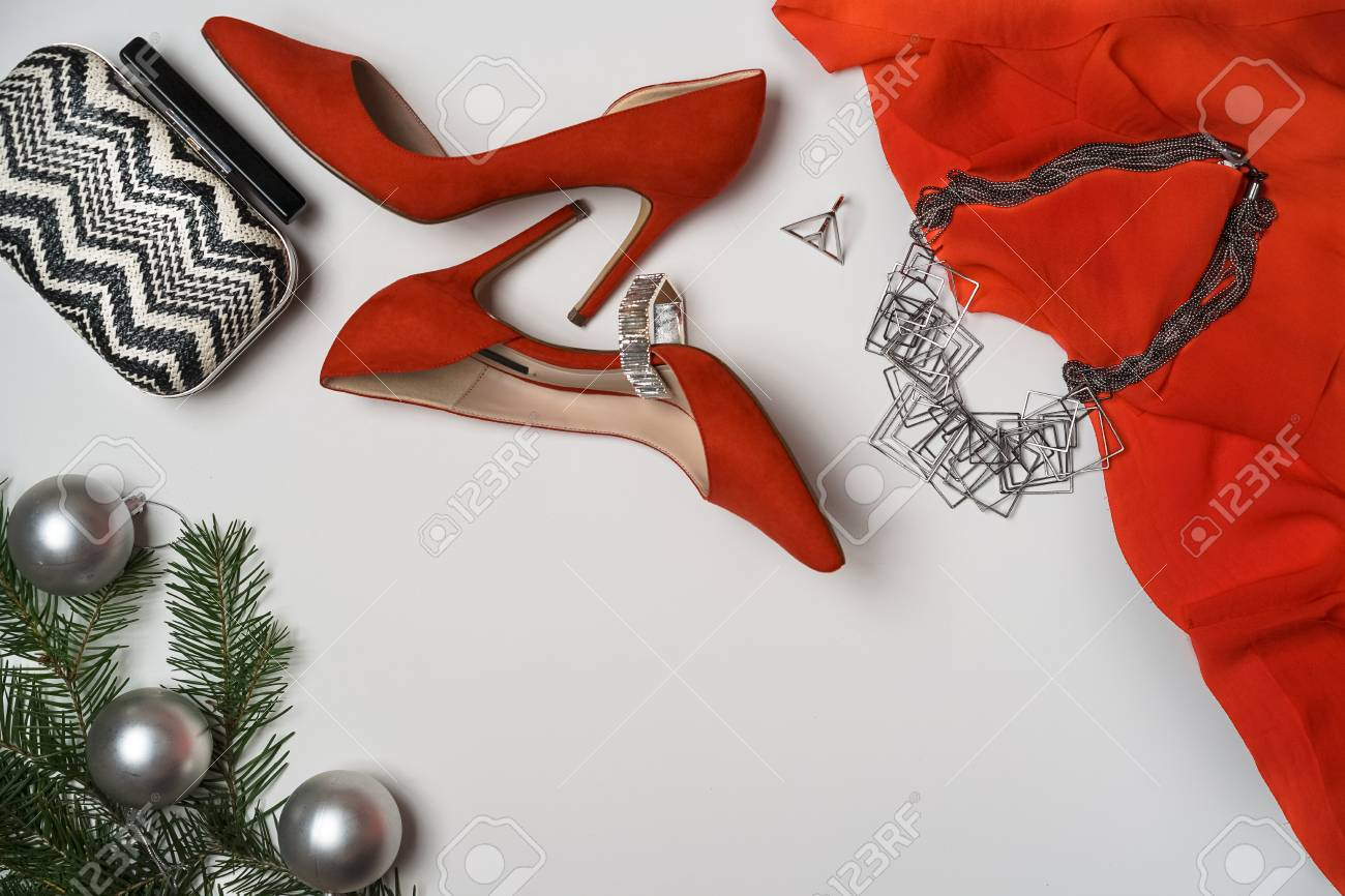 7c9c10288d5a0 Top view to new year and christmas party outfit composition red..