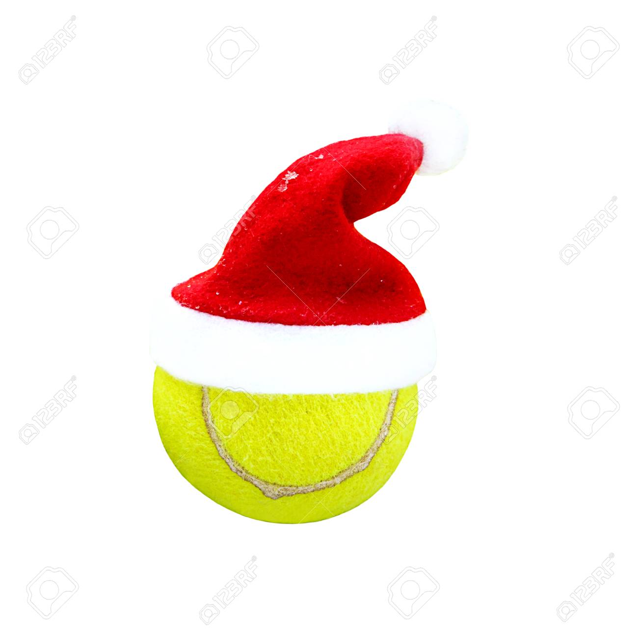 Christmas Sports Background.Santa Hat On Tennis Ball On White Background Merry Christmas