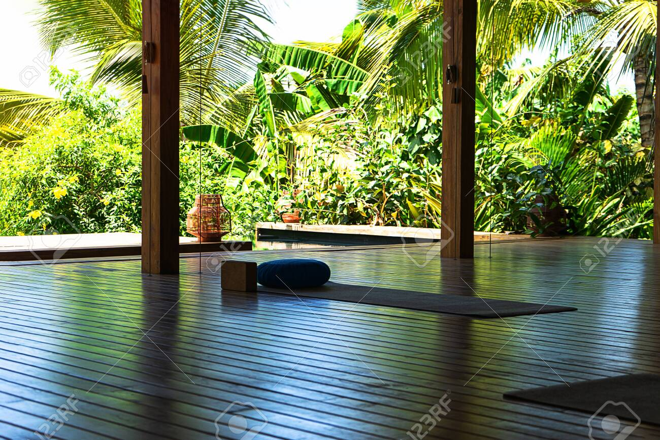 Open Tropical Yoga Studio Place With View Outside To The Beautiful Stock Photo Picture And Royalty Free Image Image 142029534