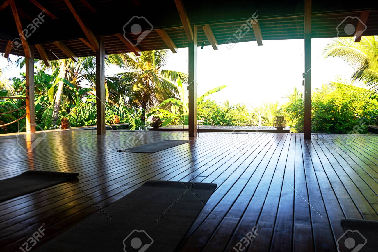 Open Tropical Yoga Studio Place With View Outside To The Beautiful Stock Photo Picture And Royalty Free Image Image 141821119