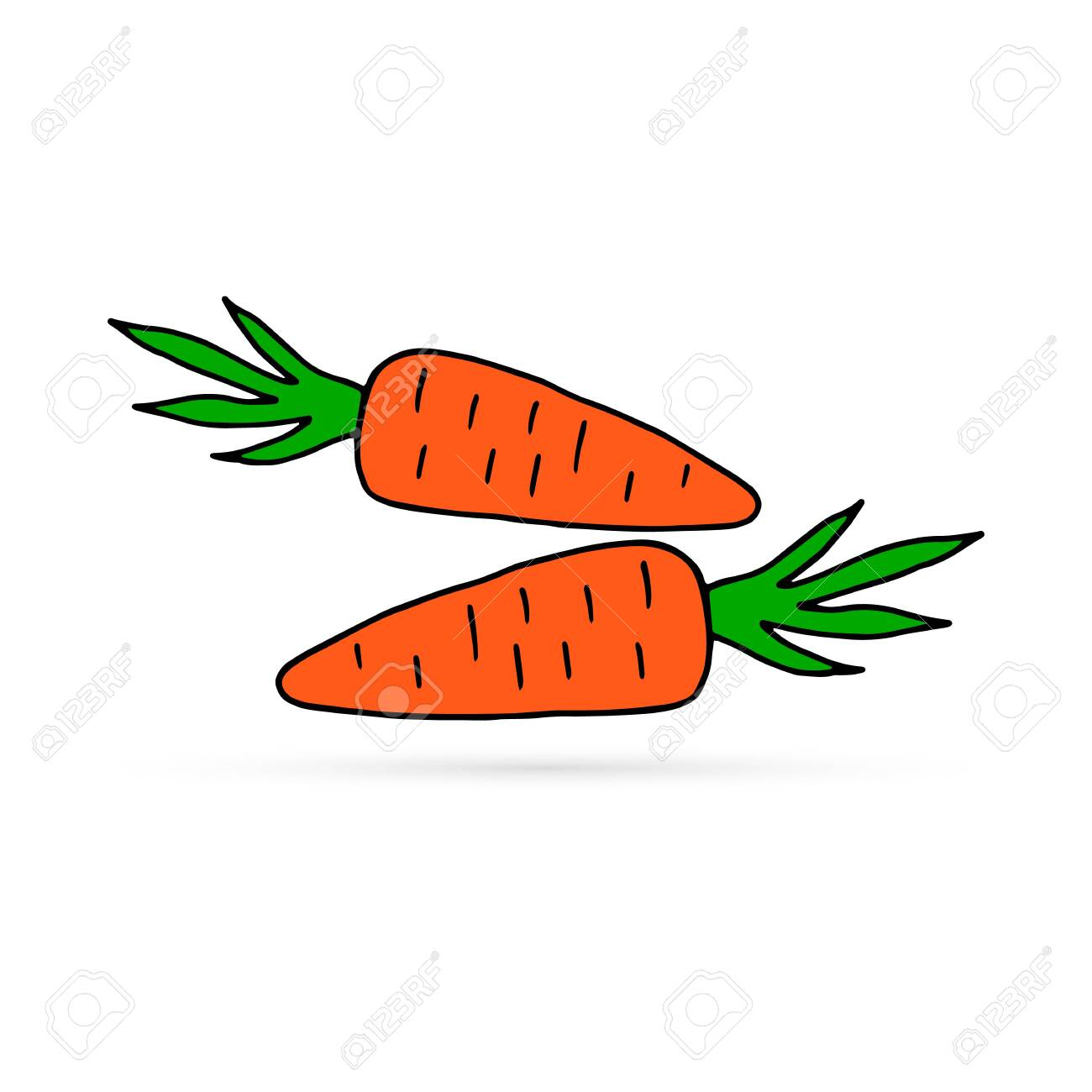 Doodle Carrots Icon Isolated On White Kids Hand Drawing Art Royalty Free Cliparts Vectors And Stock Illustration Image 135758855