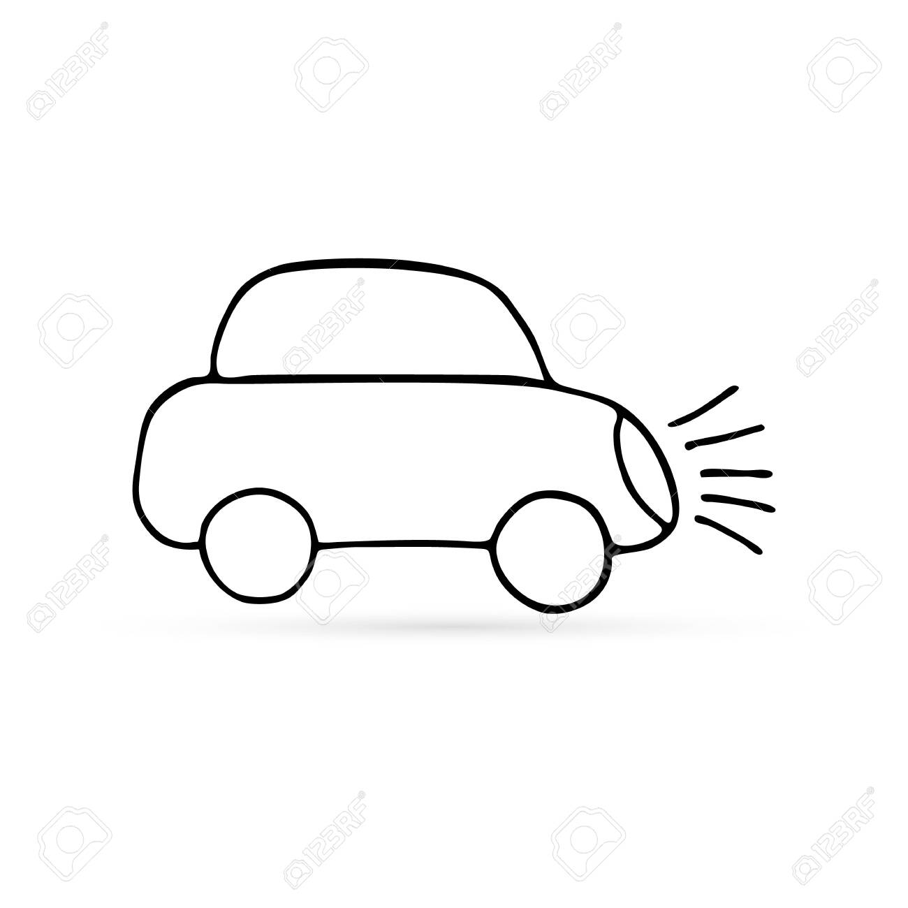 abstract car line icon isolated on white, sketch kids hand drawing art line, vector illustration - 136236117