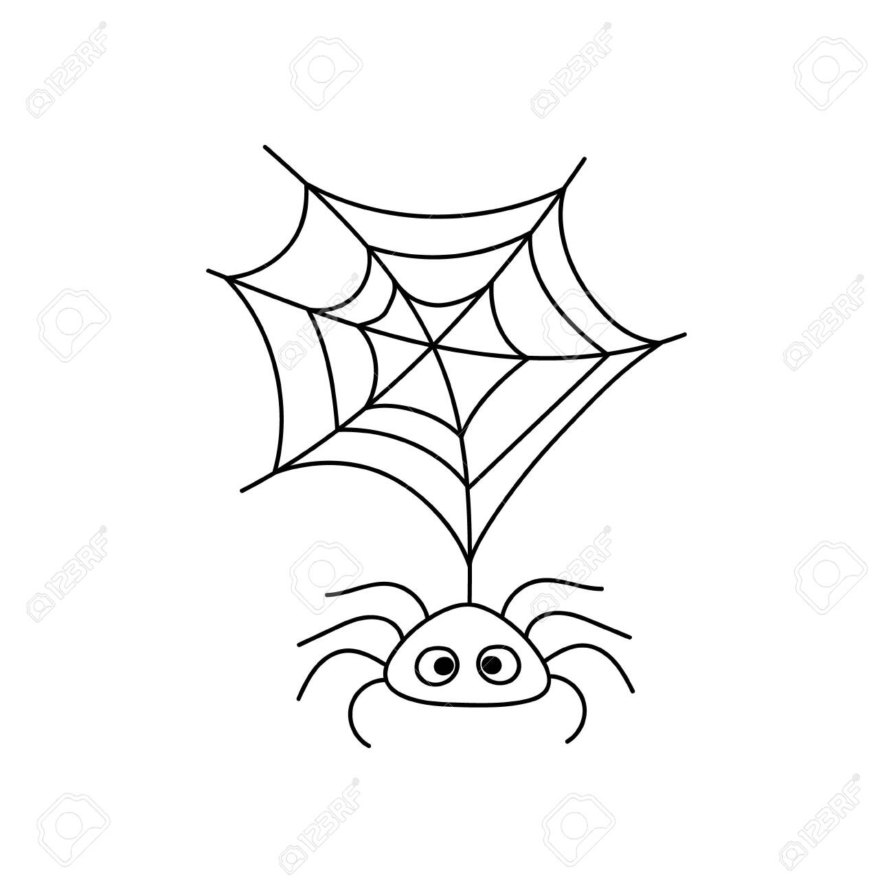 Doodle spider icon isolated on white. Halloween symbol. Sketch vector stock illustration. EPS 10 - 155235599