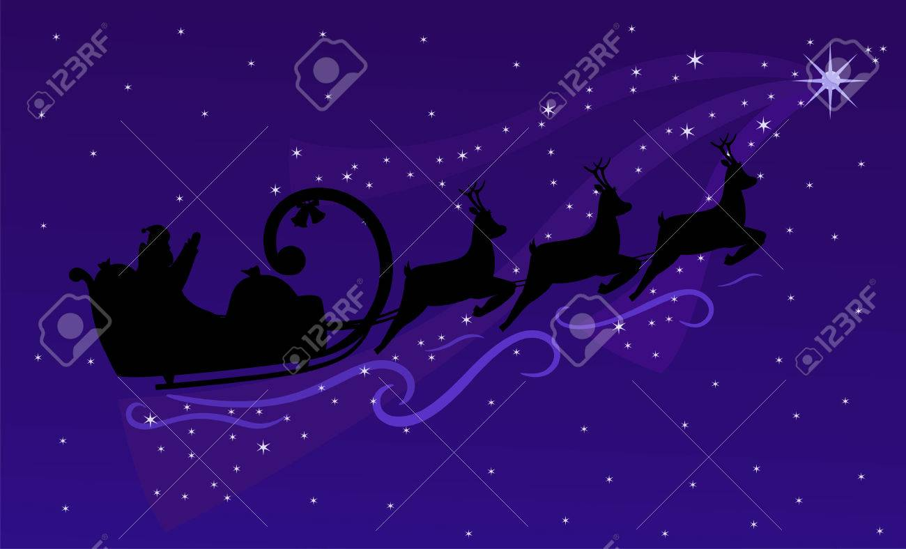 Santa Claus and Christmas reindeers flying on night sky. Christmas background with silhouette Santa (vector and raster) Stock Vector - 5995161