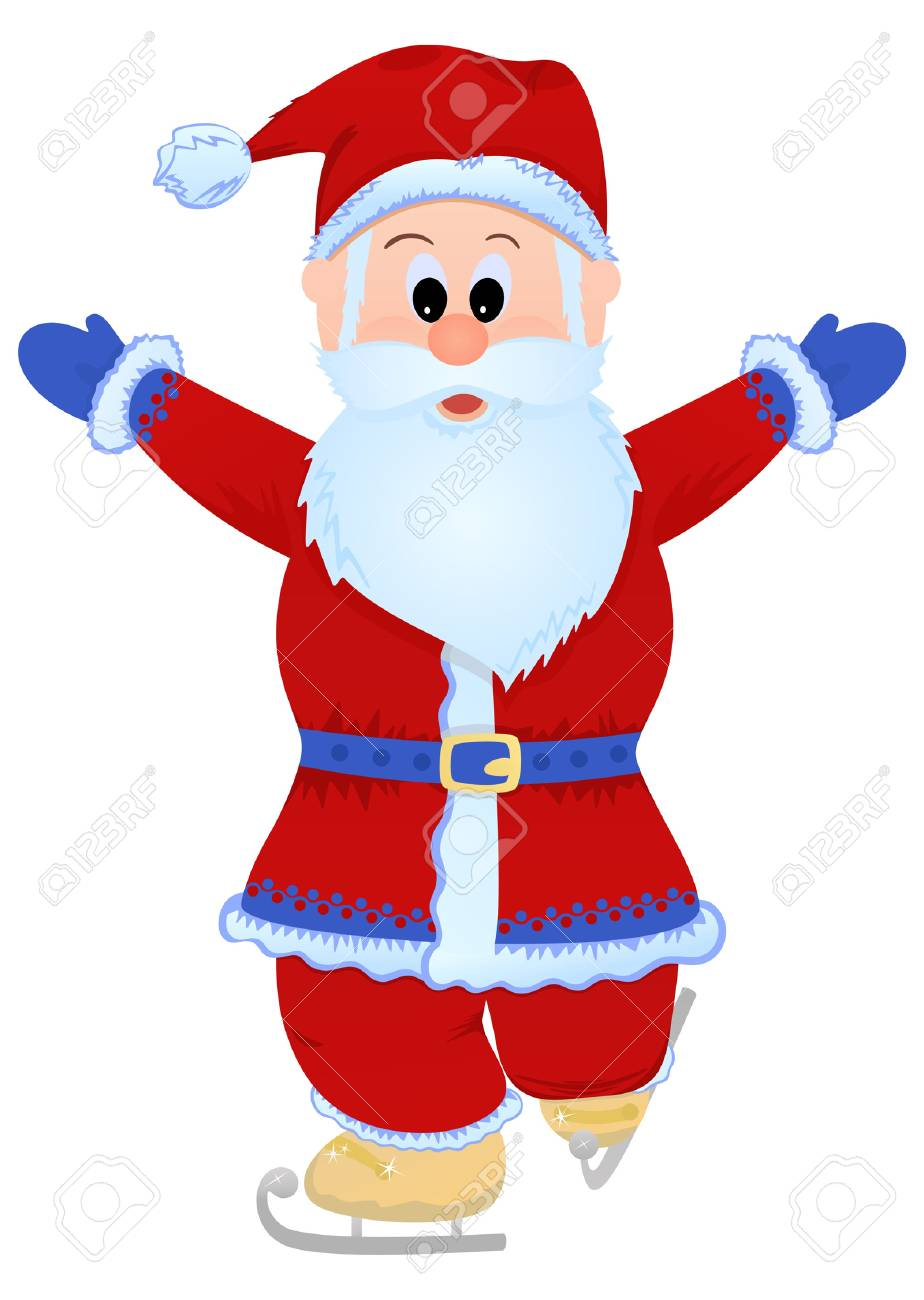 Merry Santa Claus skating. Vector illustration, object isolated Stock Vector - 6081827