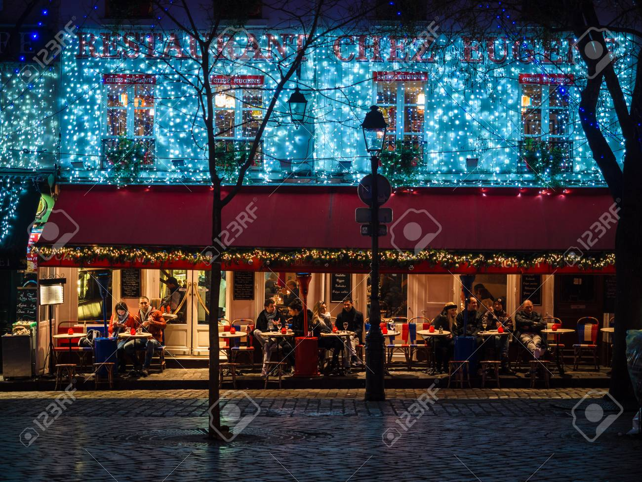 Montmartre Paris January 7 2018 Night View Of The Famous Stock Photo Picture And Royalty Free Image Image 95417157