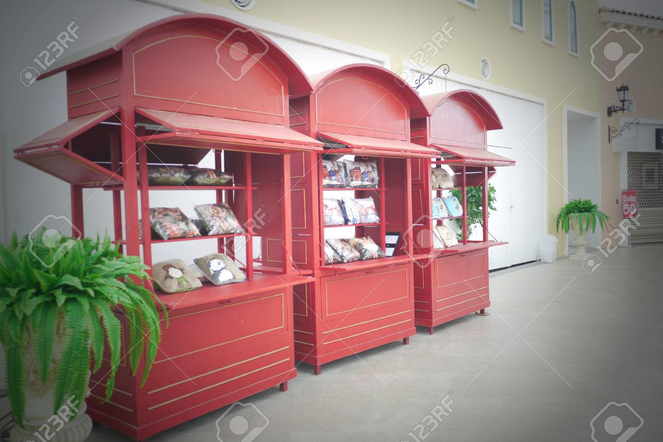 Lovely Red Color Kiosk Stock Photo, Picture And Royalty Free Image ...