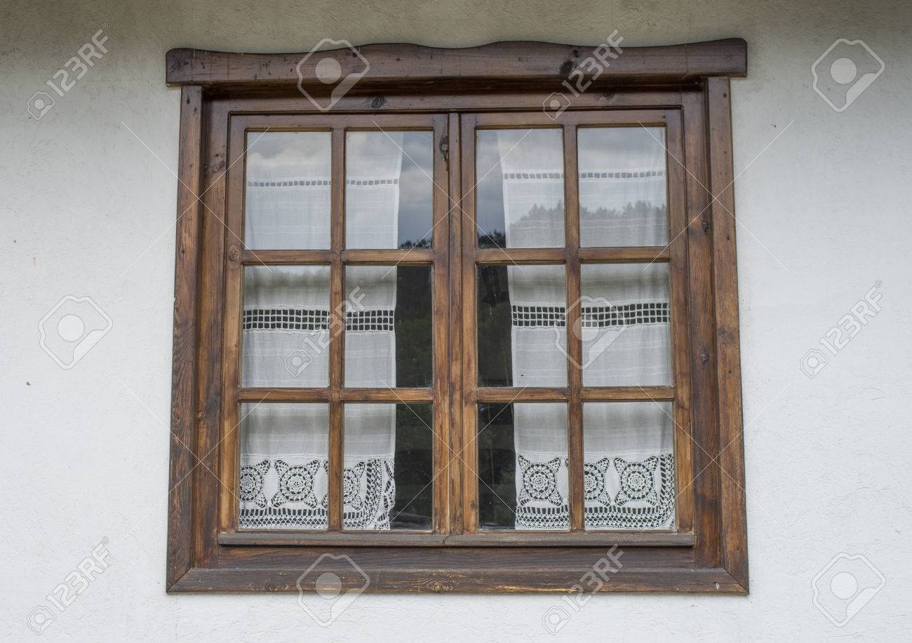 Wooden Closed Window With White Lace Curtains Stock Photo Picture