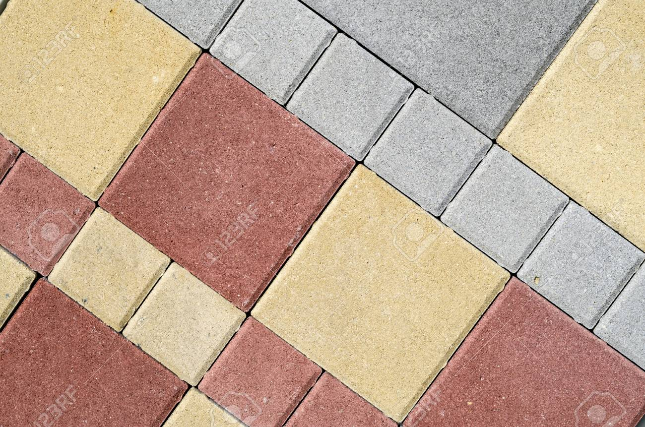 New Colorful Concrete Blocks For Paving Of Streets In Store Stock ...