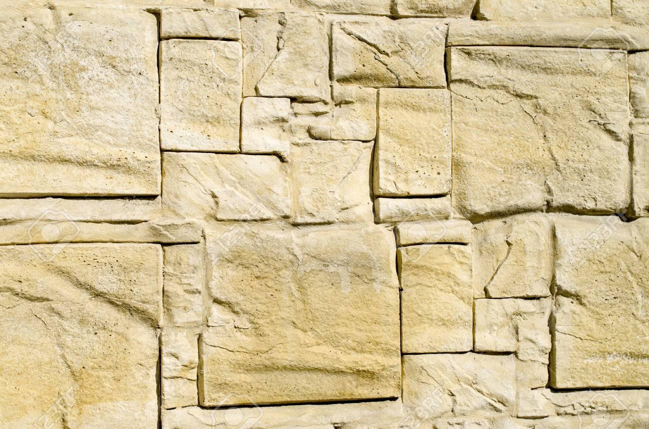 Decorative Relief Cladding Slabs Imitating Stones On Wall Closeup ...