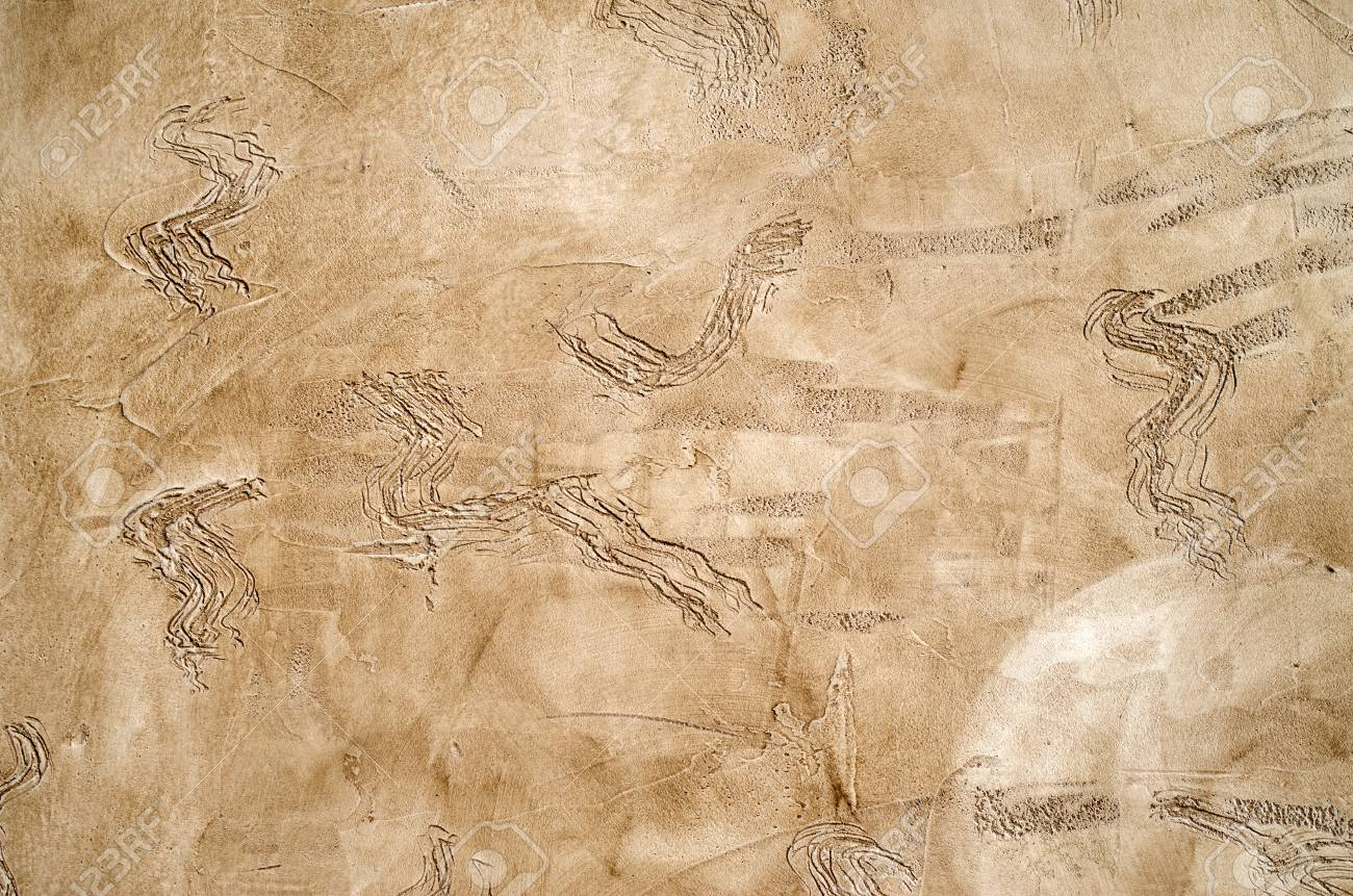 New Brown Decorative Relief Plaster On Wall Closeup Stock Photo ...