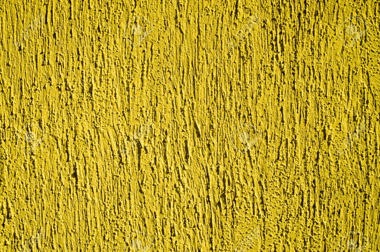 Yellow Decorative Relief Plaster On Wall Closeup Stock Photo ...