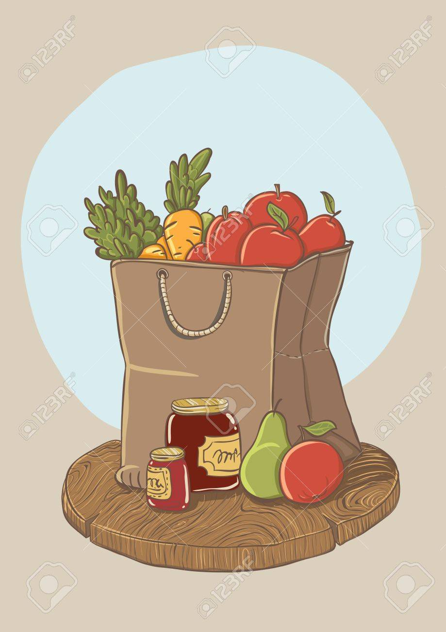 Shopping Bag With Fruits And Vegetables - Vector Illustration ...