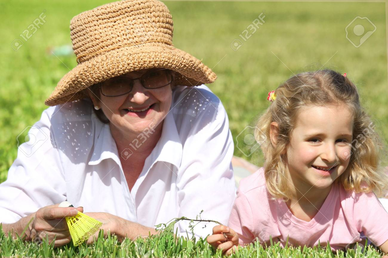 Grandmother and her granddaughter smiling Stock Photo - 5090022