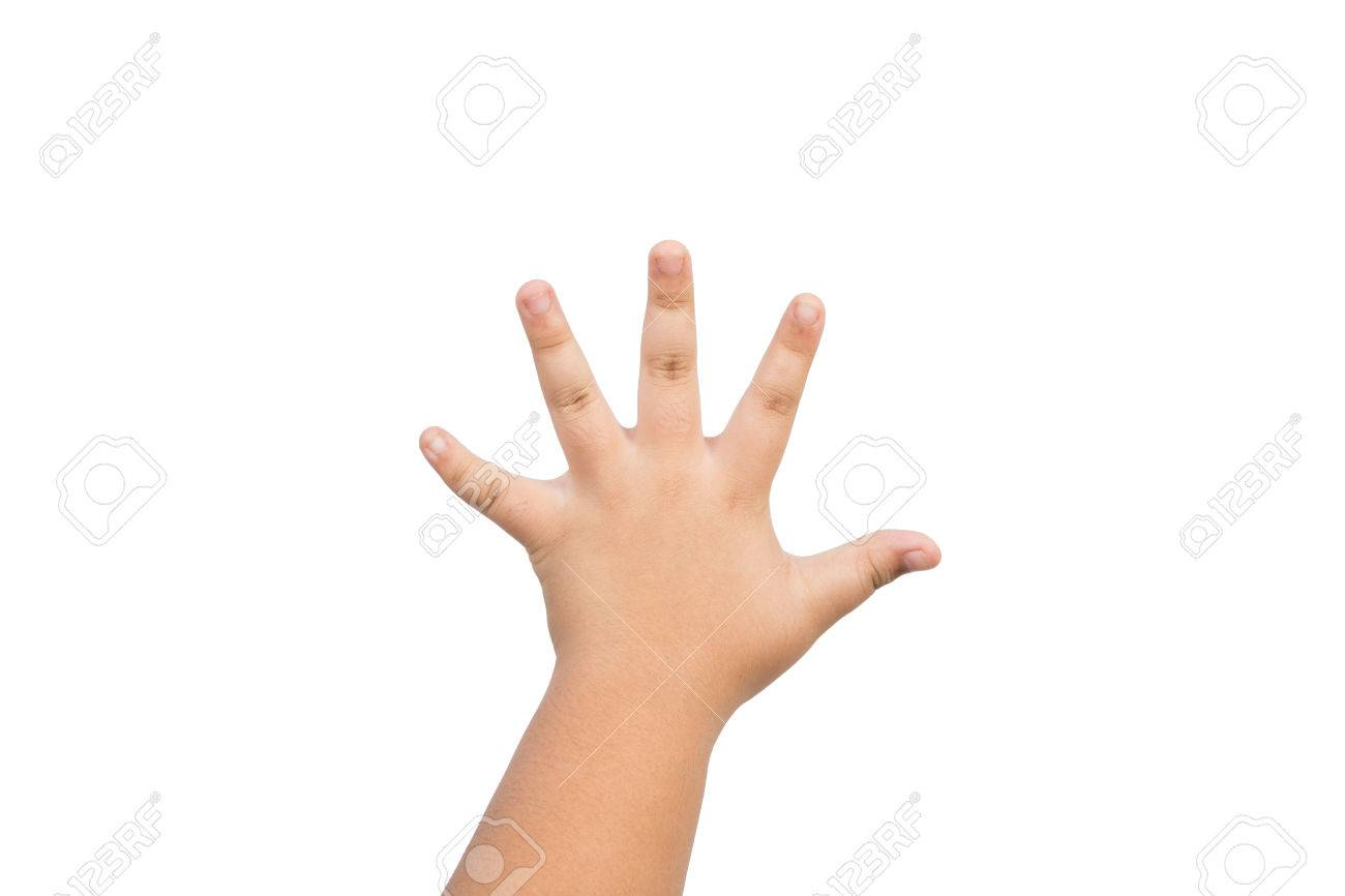 children hand is mean to say hi five hand up isolated on white