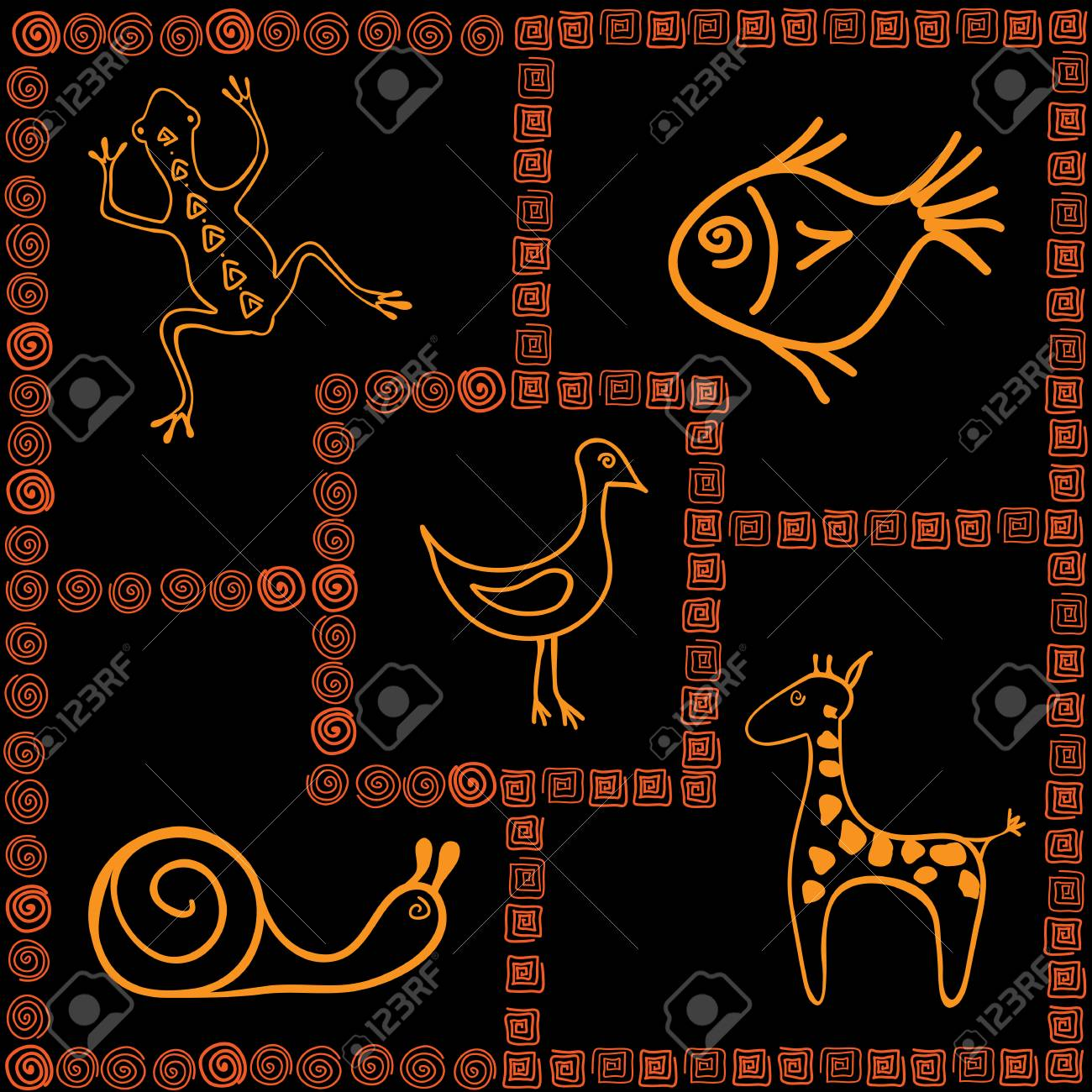 Frames With Pictures In African Style Royalty Free Klipartlar ...