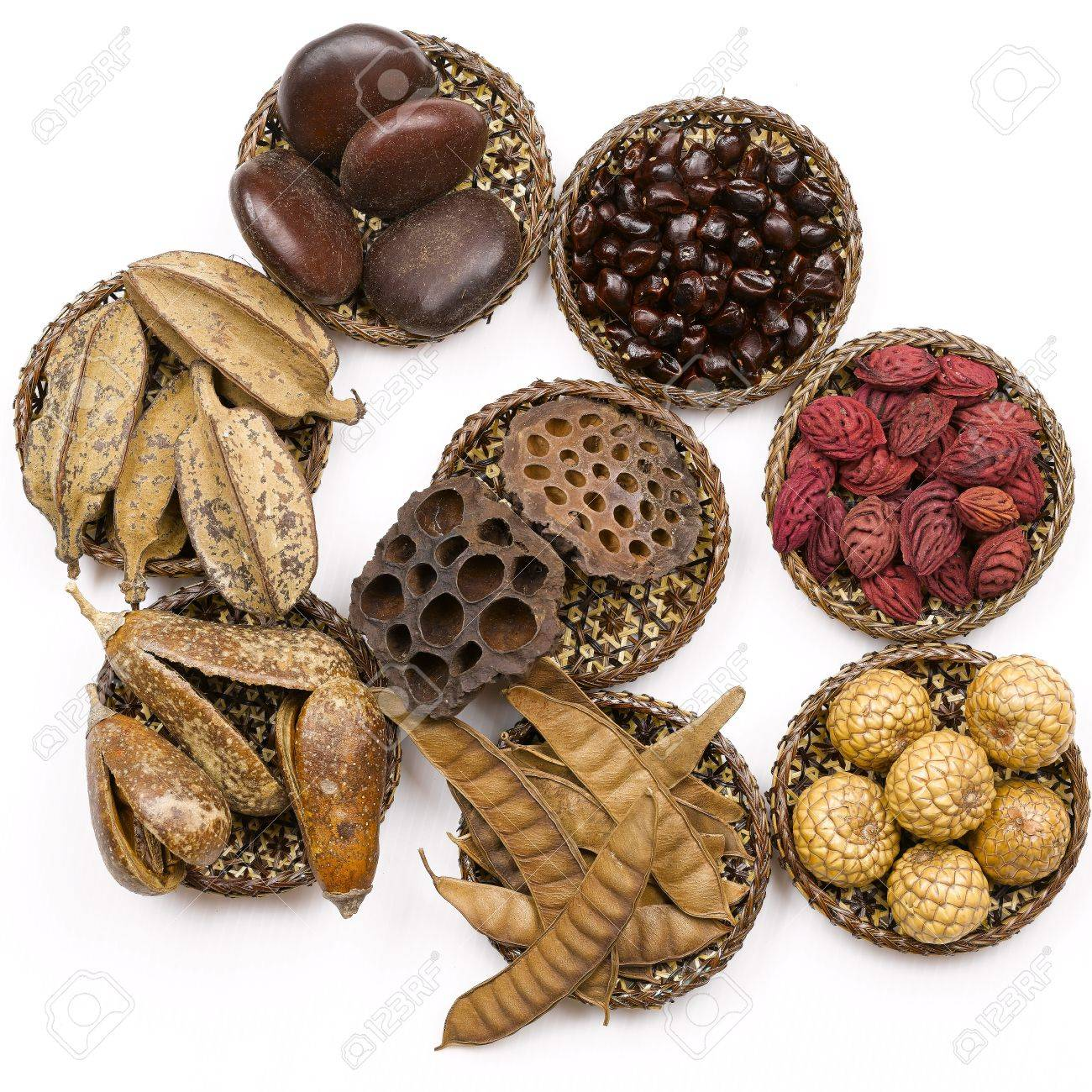Set of defferent tropical seeds