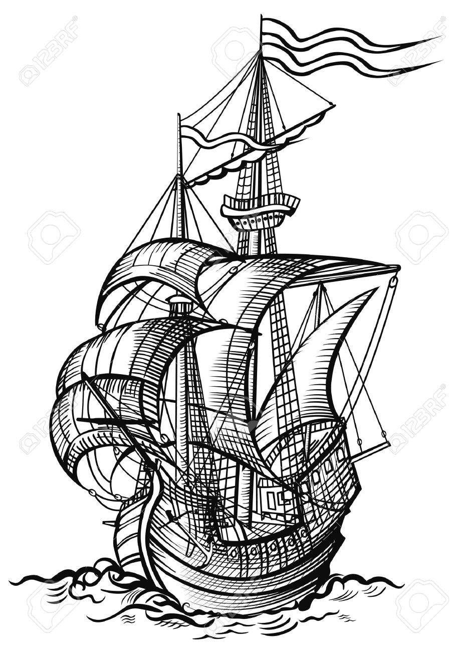Uncategorized Boat Drawing Pictures an old sailing boat in wood cut drawing style stock photo picture 7482348