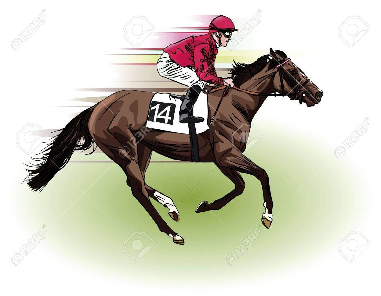A Racing Horse And Jockey Stock Photo