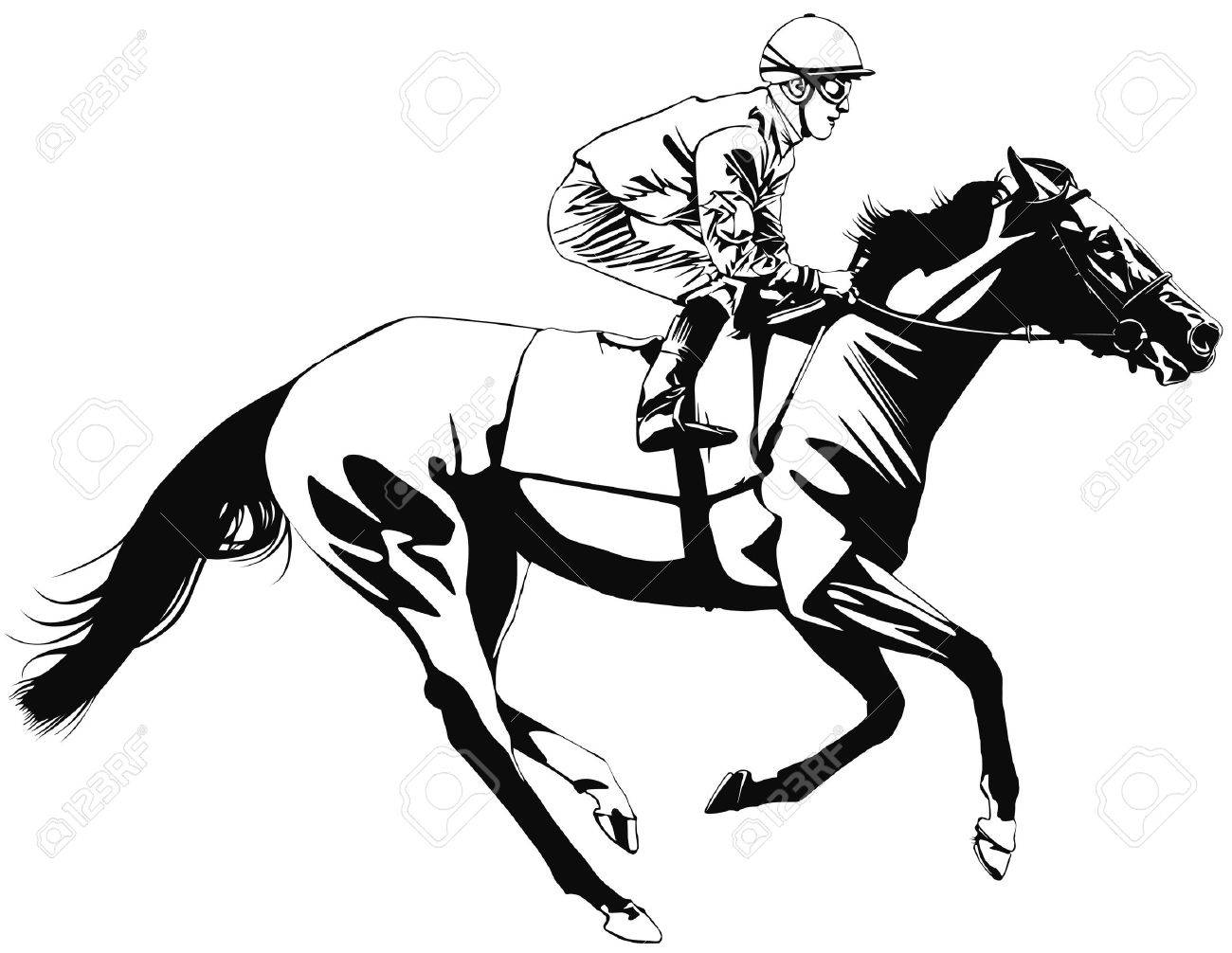 A Racing Horse And Jockey Stock Photo