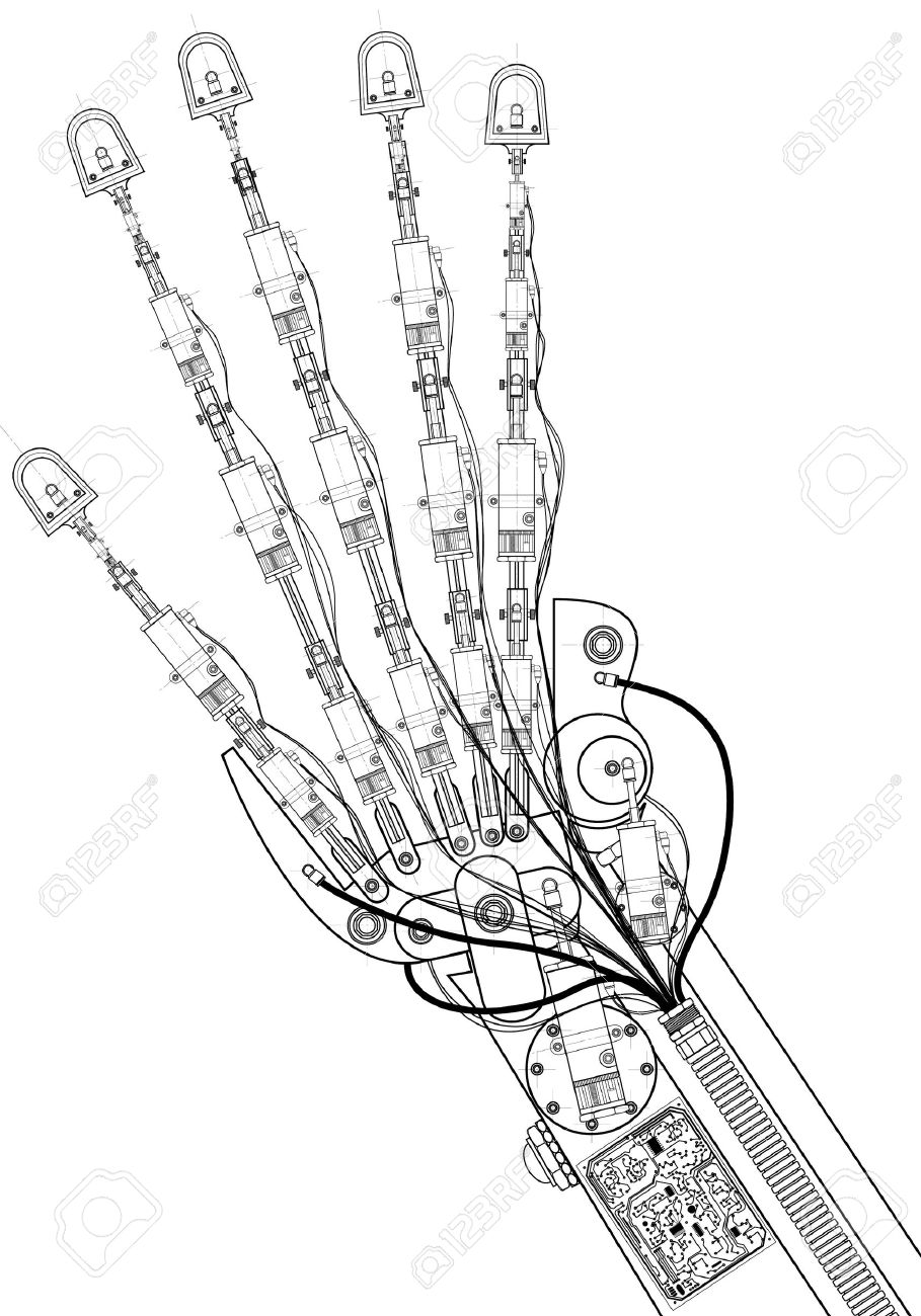hand robot technical drawing stock photo picture and royalty free