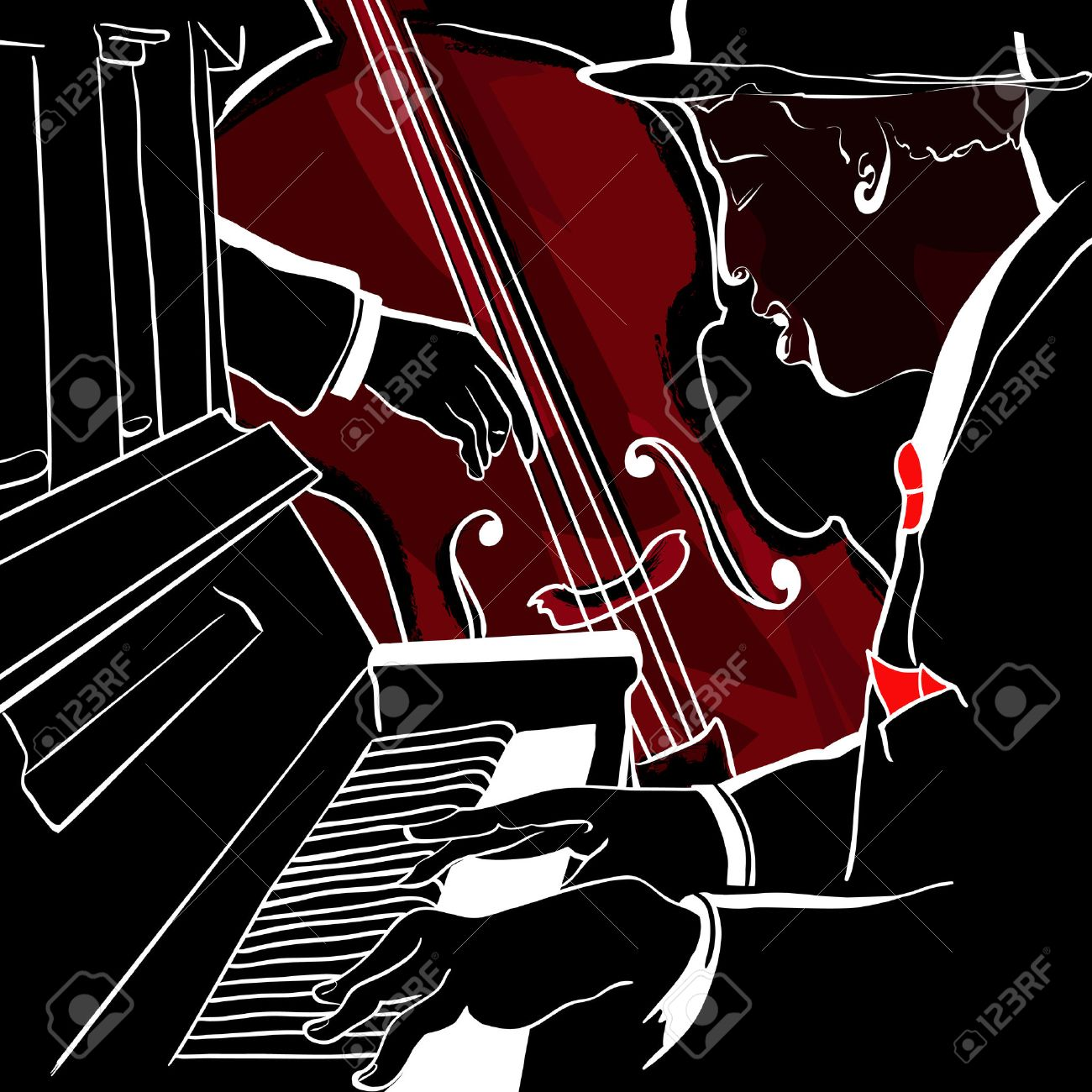 illustration of a Jazz piano and double-bass - 8537666