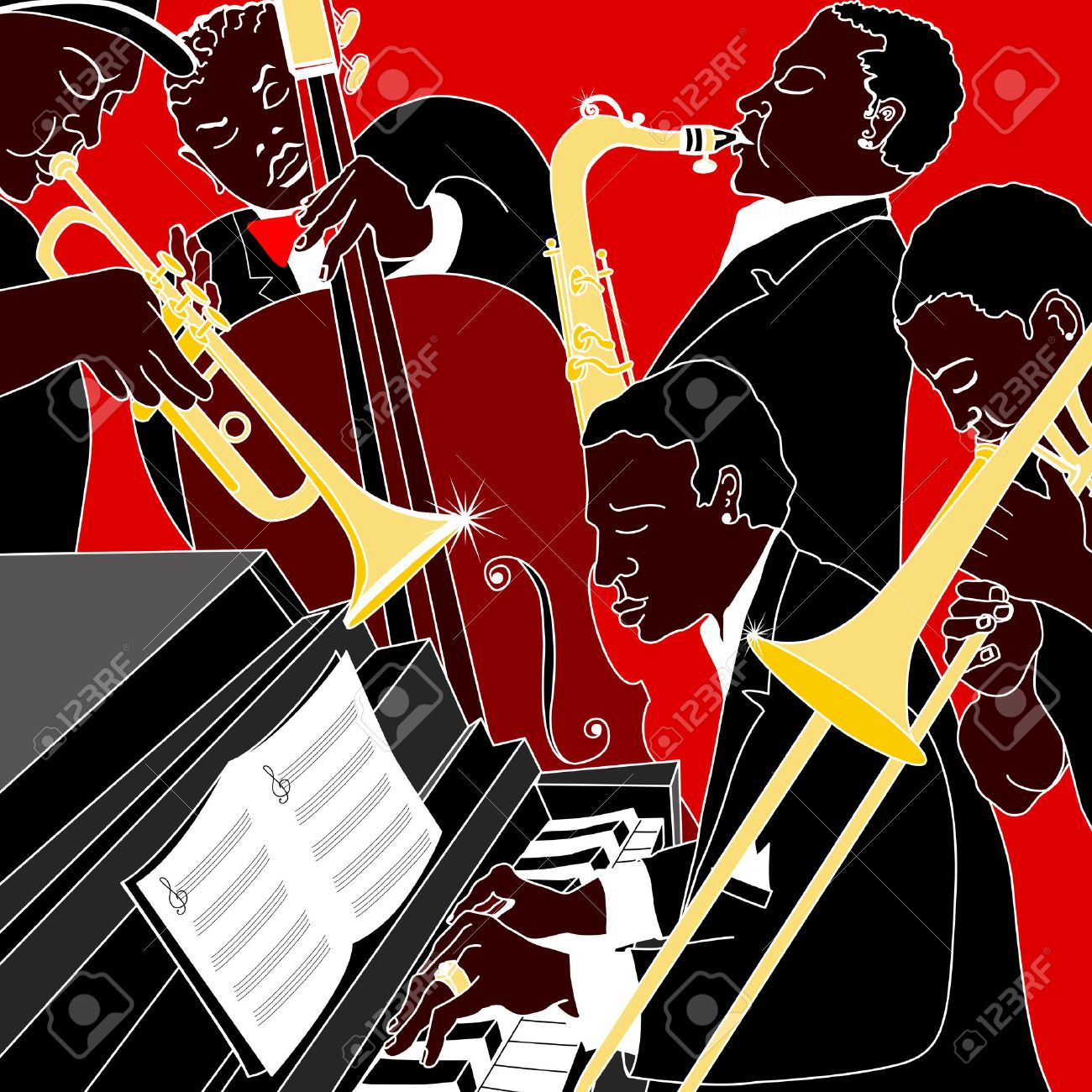 Vector illustration of a jazz band Stock Vector - 8664882