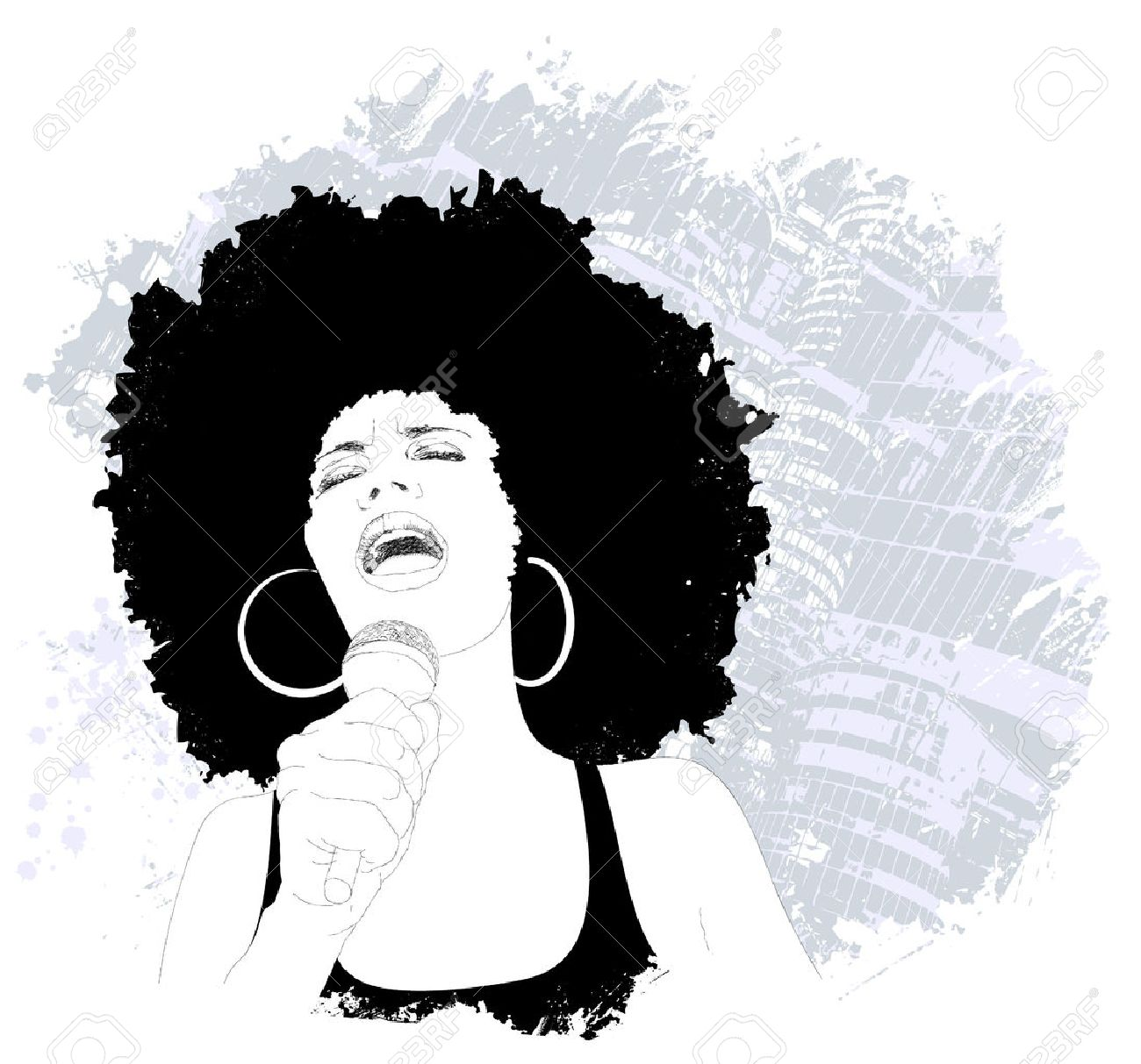 Afro Hair Vector jazz singer  Vector