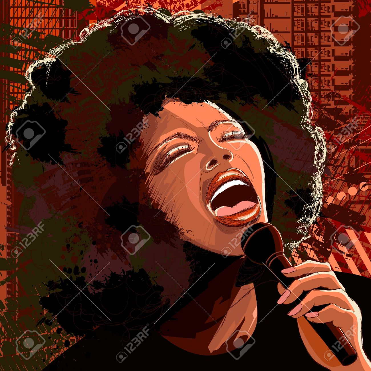 Vector illustration of an afro american jazz singer on grunge background Stock Vector - 9805807