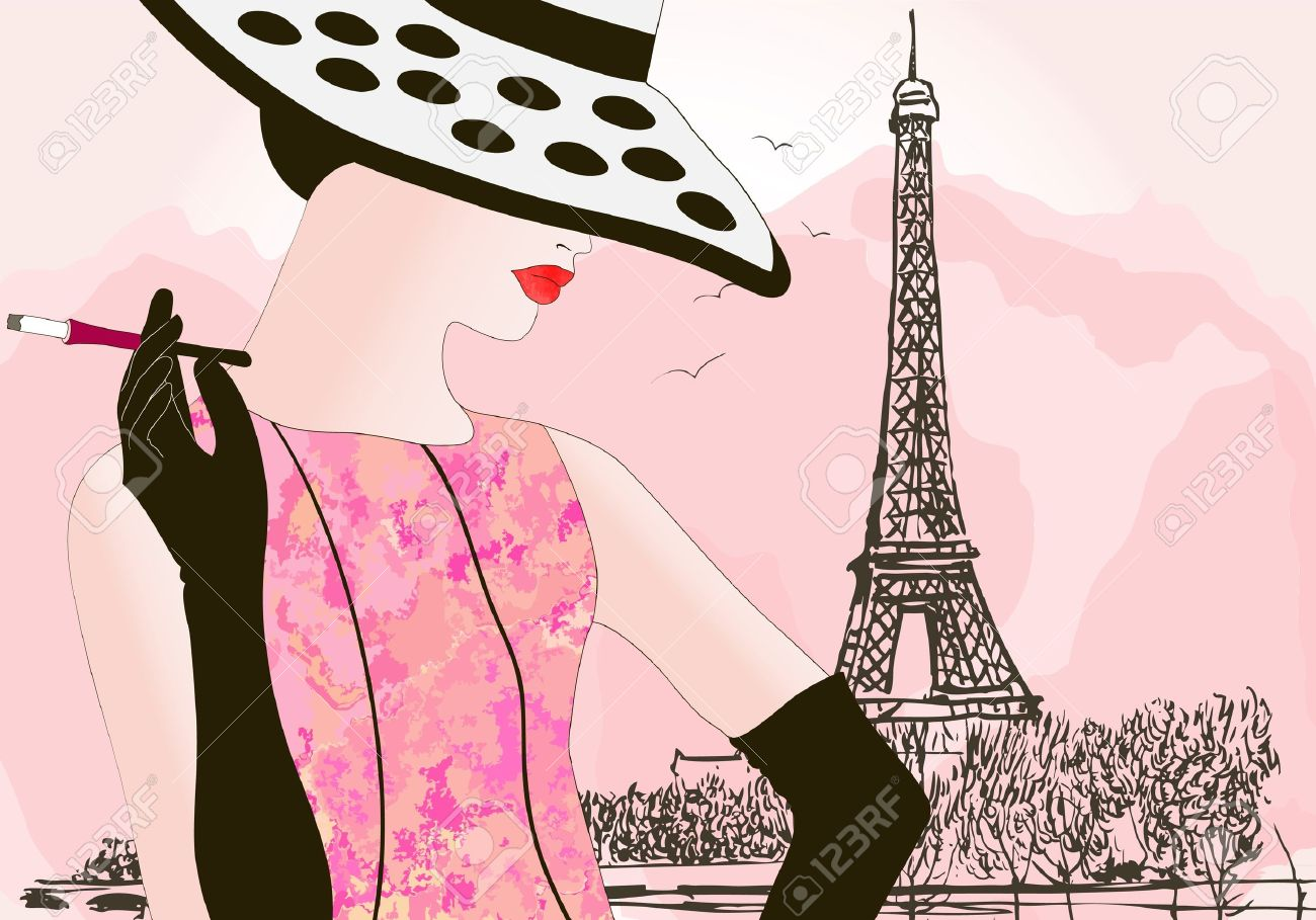 vector illustration of a fashion woman in Paris Stock Vector - 9925379