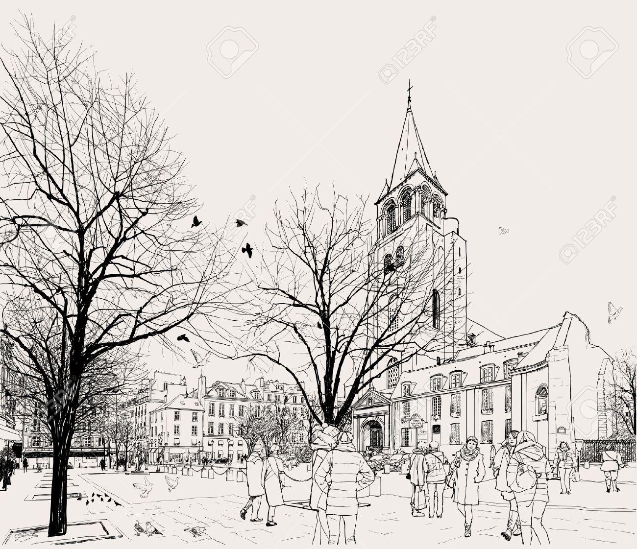 Vector illustration of St-Germain-des-Pres area in Paris Stock Vector - 11256945