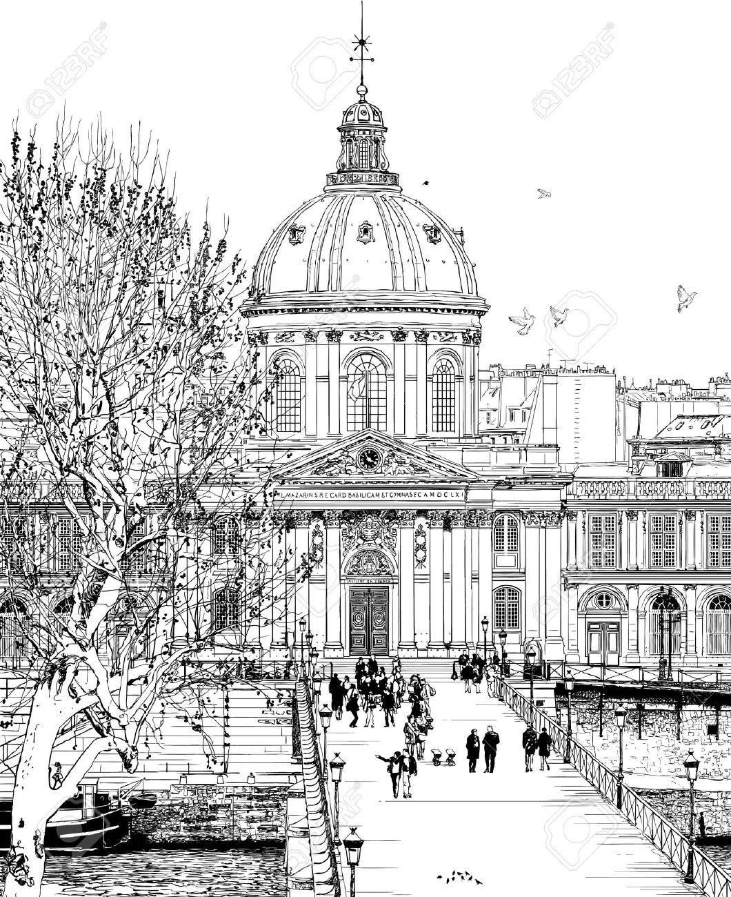 illustration of Pont des arts in Paris Stock Vector - 11811390